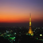 Tokyo Tower Glowing at Night